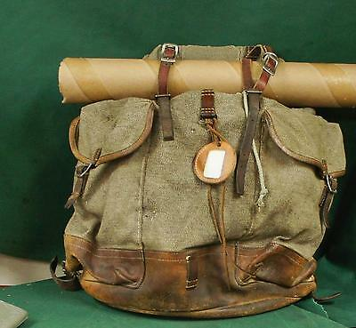 1950's Swiss Army canvas & leather roll-top rucksac Salt & Pepper Packpack P239