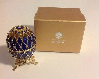 ~ NEW! Faberge Egg Jewelry Box From Russia Blue Gold Austrian Crystals Enamel