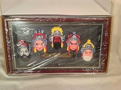 The Masks, 5, Of Sichuan Opera In Shadow Box. New In Box