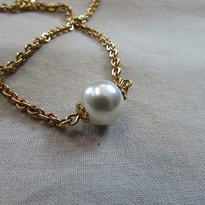 Vintage Gold Pearl Bead Pendant Necklace (16127279A)