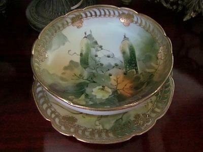 Antique Porcelain Gilded Hand Painted Nippon Berry Bowl & Under Plate Blue Mark