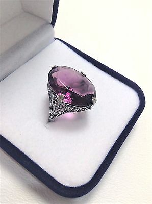 Vintage Sterling Silver Filigree Art Deco Large Solitaire Ring Size 7
