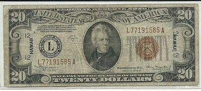 1934-A US $20 Federal Reserve Hawaii Note Brown Seal