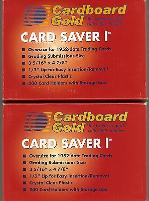 Card Saver 1 Lot Of 400 New Clear Plastic Holders Cardboard Gold