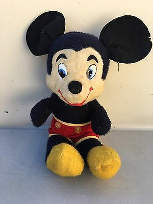 Antique Mickey Mouse Walt Disney Characters Plush Music Box Working