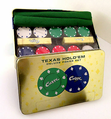 Texas Hold'em Curve Deluxe Poker Set - Chips, Mat, Playing Cards, Chip Rack, Etc