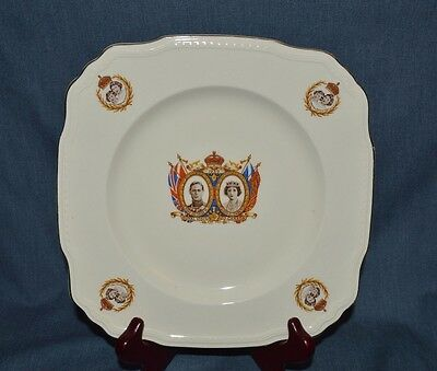 Alfred Meaking Square Plate King George V1 & Queen Elizabeth '1939' Visit To Can