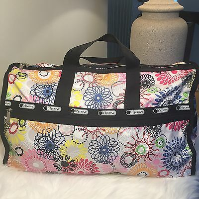 LeSportsac Large Weekender Duffle Bag Spirograph Flowers Travel Tote White/Multi