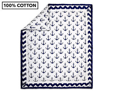 The Peanut Shell Anchor Quilt - Navy/White