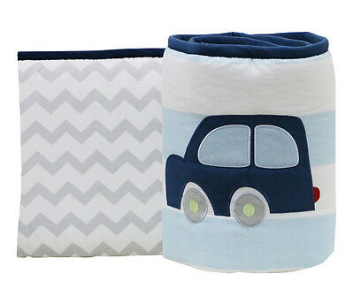 Little Haven Zoom Along Cot Bumper - Blue/Multi