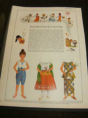 Vintage Betsy McCall Mag. Paper Doll, Betsy McCall & the Unicef Play, Oct. 1967