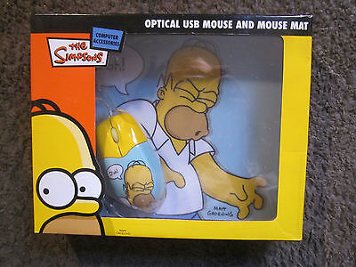 The Simpsons-Homer Simpson Optical Usb Mouse And Mouse Mat Brand New In Box 2007