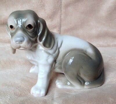 "Ceramic Sweet Faced Beagle Hound Dog Figure Gray & White Brinns Taiwan 3.5""H"