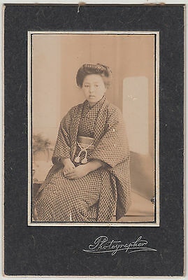 Antique Photo / Young Woman in Kimono / Japanese / c. 1920