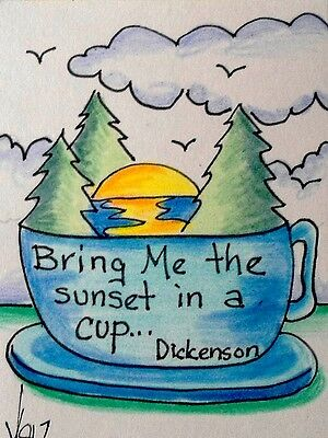"""Aceo  Original  ATC   """"SUNSET IN A CUP    """"    pencil / ink"""