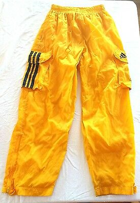 Vintage Adidas Pants 3 Stripe MADE IN RUSSIA Running Athletic TrackYellow Nylon