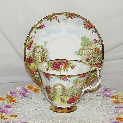 Royal Albert Old Country Roses Celebrate 25Th Anniversary Cup & Saucer 1986