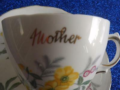 Vintage Royal Vale Cup & Saucer Inscribed Mother Yellow Flowers