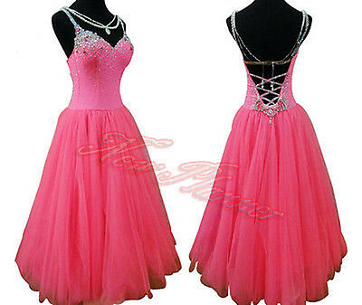 Women Ballroom Standard Smooth Waltz Dance Dress US 4 UK 6 Pink Sliver