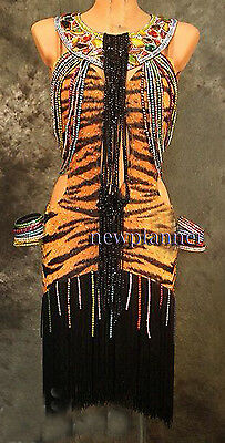 Women Ballroom Latin Rhythm Salsa Rumba Samba Dance Dress US 10 UK 12