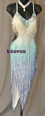 Women Ballroom Salsa Rumba Latin Cha Dance Dress US 8 UK 10 White Blue Beads