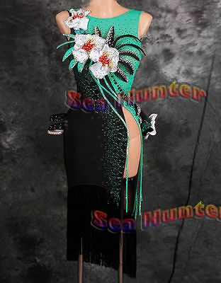 Women Ballroom Latin Rhythm Salsa Dance Dress US 8 UK 10 Green Flowers Black