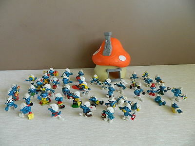Vintage 1976 Peyo Schleich Smurf House with 43 Figures from 1960's 1970's & 80's