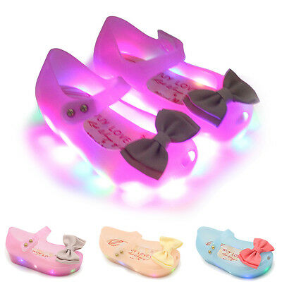 Cute LED Light Bow Princess Minnie Sandals Jelly Shoes Kids Girls Toddler Baby