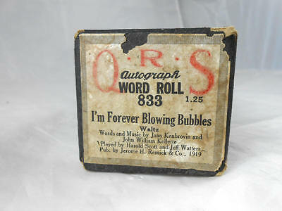 Rare Vintage West Ham United's QRS I'm ForeverBlowing Bubbles Player Piano Roll