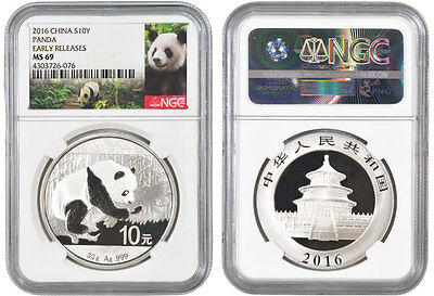 2016 China Silver 30 Gram Panda Coin - Ngc Ms69 Early Releases