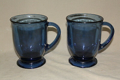 Pair Of Anchor Hocking Clay Blue Large Footed Mugs 6832