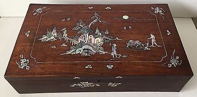Antique Vietnamese Inlaid Mother Of Pearl, Traditional Village Scenes Wooden Box