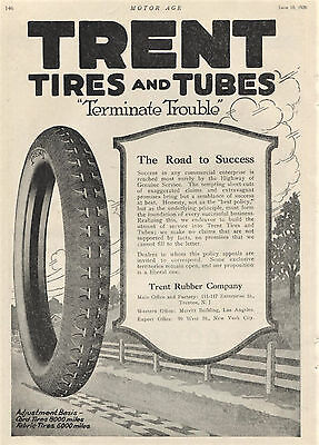 1920 Original TRENT TIRES and Tubes Full Page AD. Trenton, New Jersey