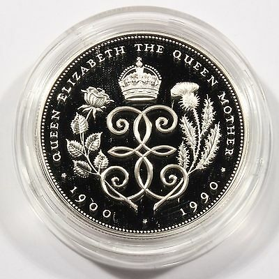Nice 1990 Great Britain Crown Silver Proof Coin Queen Elizabeth 90th Birthday