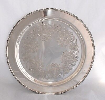 Vintage STRACHAN Silver Plate Tray - Etched with Gadroon Border - 29cm