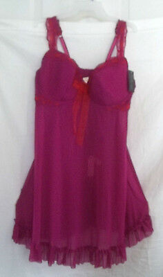 Cacique Lane Bryant Babydoll Top,thong Fuschia /pink Nightgown Wire Bra 20