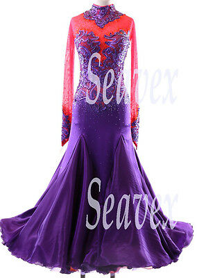 Women Smooth Ballroom Waltz Tango Standard Dance Dress US 8 UK 10 Red Purple
