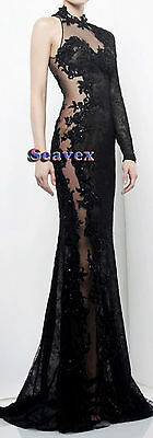 Women Ballroom Evening Smooth Waltz Dance Dress US 6 UK 8 Black Lace