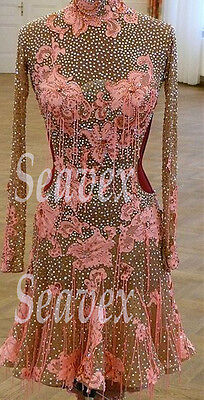 Women Ballroom Rhythm Salsa Rumba Latin Dance Dress US 10 UK 12 Flesh Pink Lace