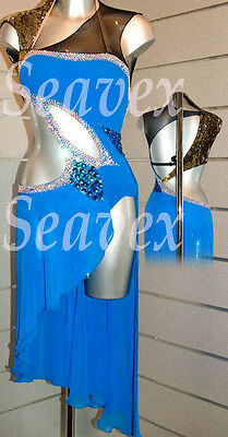 Women Rhythm Salsa Rumba Latin Samba Dance Dress US 6 UK 8 Blue Black