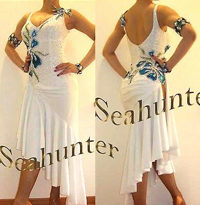 Women Ballroom Latin Rhythm Salsa Rumba Dance Dress US 4 UK 6 White Blue Color