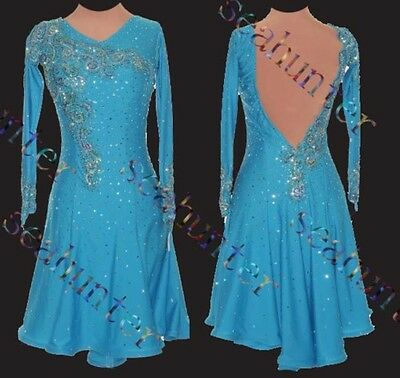 Women Ballroom Latin Salsa Rumba Samba Dance Dress US 8 UK 10 Blue Lace Color