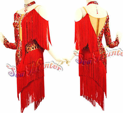 Women Ballroom Latin Rhythm Salsa Rumba Dance Dress US 10 UK 12 Flesh Red Fringe