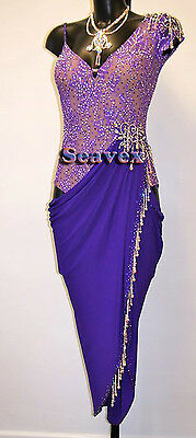 Ballroom Rhythm Salsa Rumba Latin Cha Dance Dress US 6 UK 8 Two Purple Color