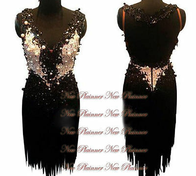 Women Ballroom Rhythm Salsa Rumba Latin Dance Dress US 12 UK 14 Flesh Black