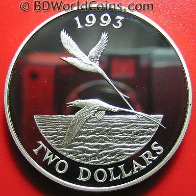1993 BERMUDA $2 PROOF .84oz SILVER WHITE-TAILED TROPIC BIRD MINT=2,000 COINS!