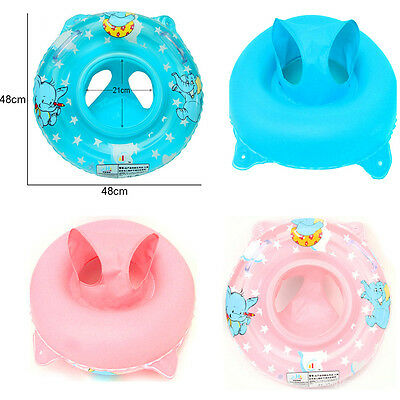 Blue Pink Inflatable Swimming Ring seat Handle Baby Toddler Aid Float Pool Water