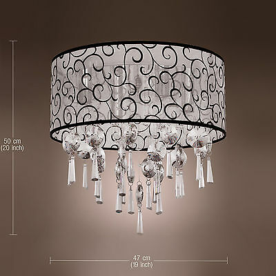 CA Modern Round Elegant Crystal Chandelier light 4 Lights Flush Mount Lighting