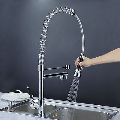 Brushed Chrome Kitchen Sink Faucet Pull Down Spray Mixer Tap Swivel Spout