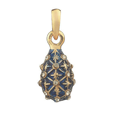 Faberge Egg Pendant / Charm with crystals 2.4 cm blue #1558-11